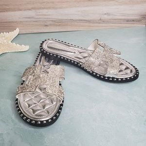 New! Sparkle Cut-Out Rhinestone Slide Sandals